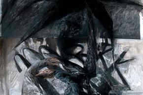 Questa lunga notte - 2013, acrilico su tela, cm. 220x100