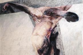 L'uomo e la Croce - 01/2016, acrilico e tecnica mista su tela, cm. 300x200