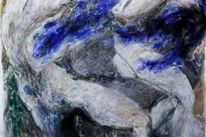 Azzurri coltelli del mare - 2017, acrilico e tecnica mista su tela, cm. 200x130