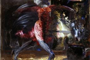 Piazza Risorgimento - 1983, tecnica mista su tela, cm 129x180
