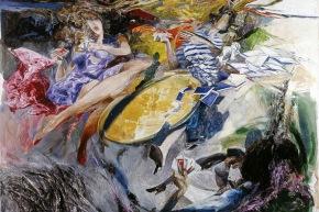 Un gioco nel vento - 1985, olio su tela, cm 198x168