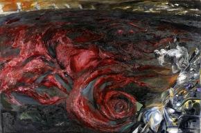 Evento nell'acqua - 1989, acrilico su tela, cm 200x295