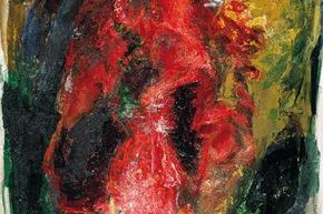 Rosso lacerazioni - 1989, acrilico su tela, cm 180x90