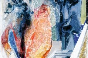 Autoritratto: tornare all'arcaico? - 2004, acrilico su tela, cm. 60x40