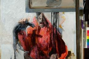 Autoritratto: il pensiero, il caso, la carne - 2008, acrilico su tela, cm. 110x110