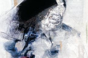 Presenza senza suono - 2002, acrilico su tela, cm. 80,5x50