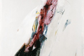 Rosso taglio - 2004, acrilico su tela, cm. 110x80