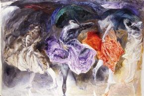 Pioggia sul corpo - 1988, olio su tela, cm. 200x300