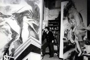 Calabria nello studio tra i dipinti - 1984