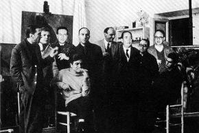 """Gruppo """"il pro e il contro"""" (Morosini, Gruccione, Guttuso, Vespignani, Attardi, Farulli, Del Guercio, Gianquinto,  Calabria) - Roma, primi anni 60"""