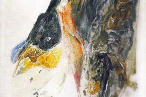 Figura tra gli scogli - 1991, tecnica mista su carta, cm. 76x57