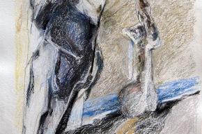 Pescatore, donna e mare - 2013, pastello su carta, cm. 59x62