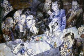 La giuria - 1959,olio su tela, cm. 133x180